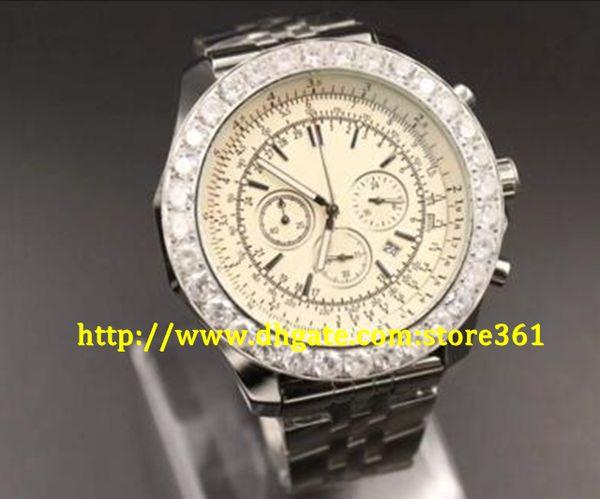 store361 new arrive Quartz-Watches Men White Dial Analog Diamond Case Platinum Skeleton Stainless Steel Band Motors Casual Digital Watch