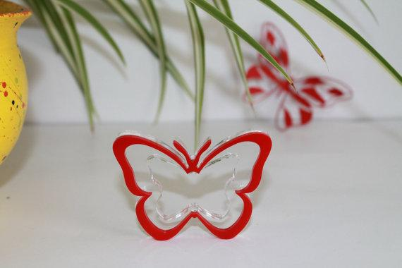 Red Napkin Ring Holders Red Butterfly, Party Decorations in Red, Butterfly Birthday Party, Napkin Holders, Table napkin ring holders