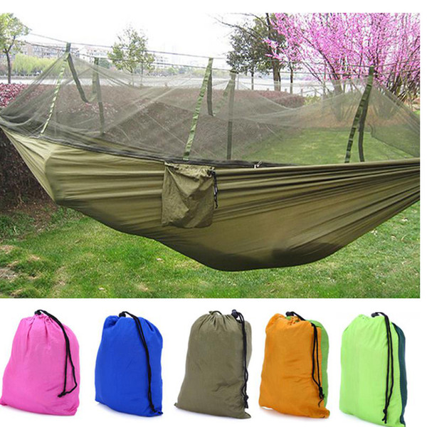 Wholesale- double hammock chair with mosquito nets for garden swing hanging for adults Parachute Cloth outdoor furniture bed size 260x130cm