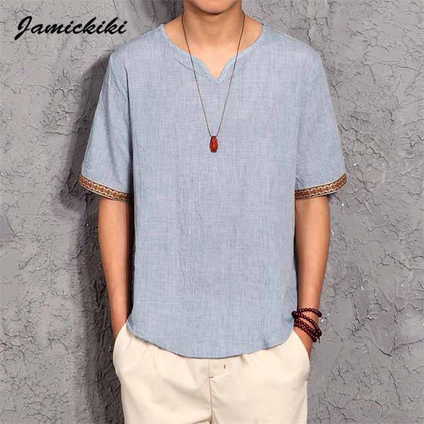 Al por mayor-estilo coreano para hombre camisetas 2016 verano moda para hombre con cuello en v algodón y lino camiseta Homme Baggy Tops camisetas de alta calidad XXXXXL