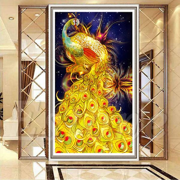 30 45cm 5d Diamond Embroidery Gold Peacock Diamond Painting