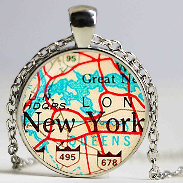 Vintage Map New York Glass pendant. Vintage Map Necklace. Vintage Map jewelry, birthday ,Glass Cabochon Pendant,Silver Plated