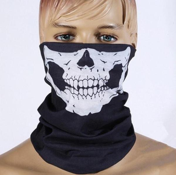 DHL Frete grátis 500 pcs Crânio Design Multi Função Bandana Esporte Esqui Motociclista Cachecol Máscaras Faciais Máscara Facial Ao Ar Livre Cor Preta