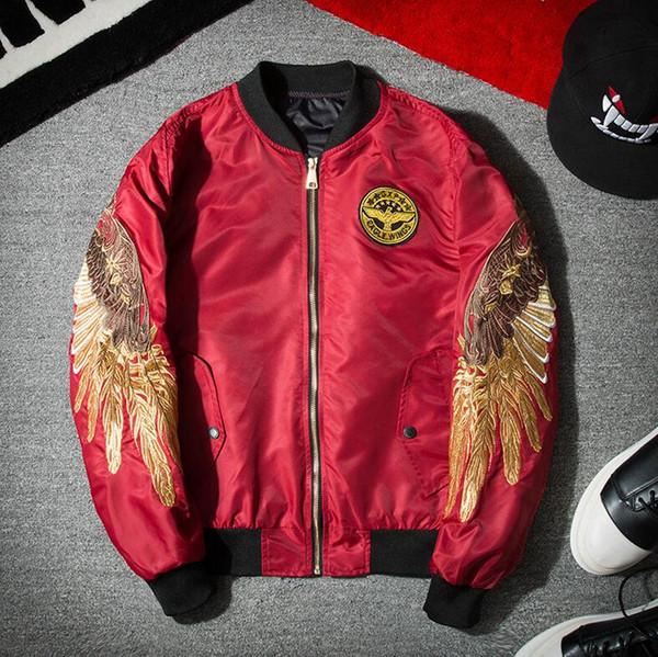 Europa e nos Estados Unidos marca Rua maré lon don boy yeezus homens e mulheres amantes asas de anjo bordado águia jaqueta de beisebol roupas
