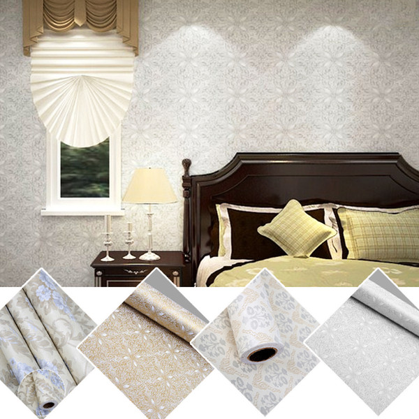 Wholesale- Flowers European Modern Self Adhesive Wallpaper For Lliving Room Home Decor Wall Paper Roll 3D Wall Murals Wall-Covering