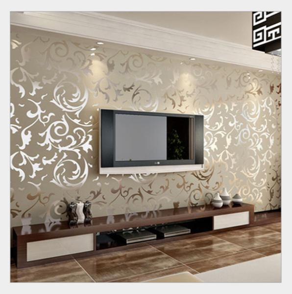 Großhandels-italienische Art-moderne 3D geprägte Hintergrund-Tapete für Wohnzimmer-Silber und graue gestreifte Tapeten-Rolle-Desktop-Tapete
