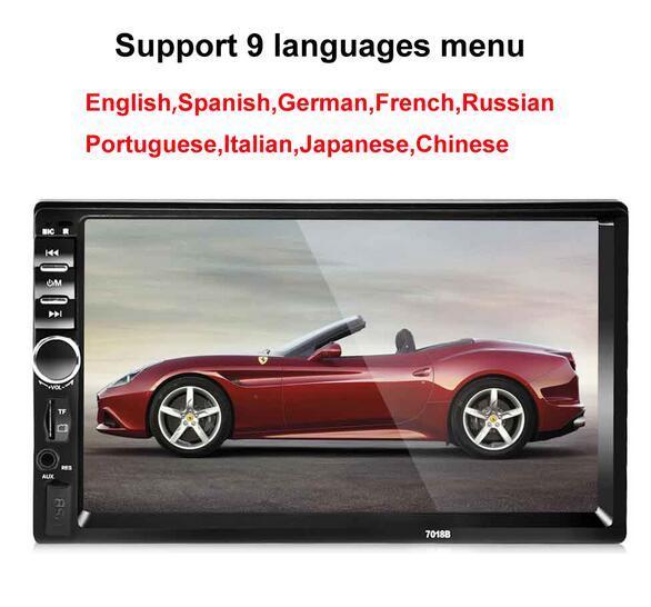 2 Din 7 '' pulgadas LCD pantalla táctil coche reproductor de radio audio del coche Coche estéreo bluetooth múltiples Idiomas Soporte de menú cámara de copia de seguridad
