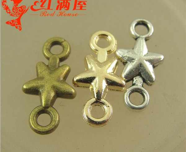 15*7.5MM Antique Bronze star connector charms for bracelet, metal gold dangle vintage silver pendants for necklace, jewelry making materials