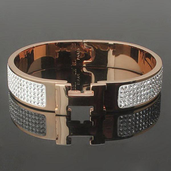 316L Titanium steel H shape with diamond bangle 1.2cm width brand name for women size in 5.7*4.5cm jewelry Free Shipping PS5358