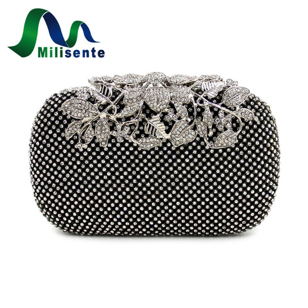 Wholesale- Milisente Women Rhinestone Handbag Studded Flower Evening Diamond Bags Lady Wedding Party Clutches Purse Silver Gold Black Small