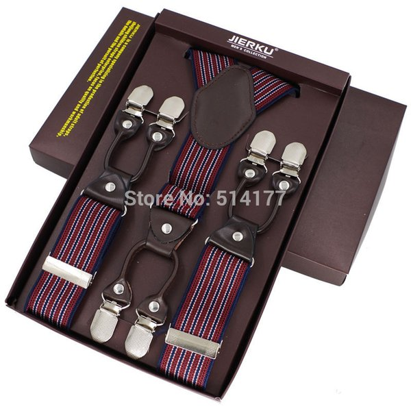 Wholesale-2016 fashion braces leather 6 clips suspenders bretelles Adjustable Belt Strap ligas Tirantes with gift box 3.5*115cm 7 colors