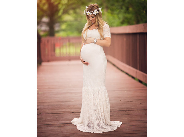 top popular Maternity Photography Props Deep V-Neck Pregnancy Clothes Maxi Maternity Photography Dress Lace White Maternity Dress For Pregnancy Women 2020