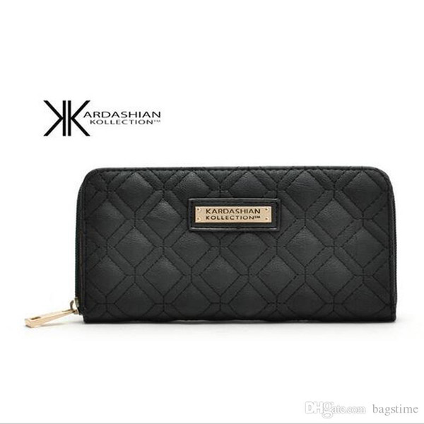 New White Black Kk Wallet Long Design Women Wallets PU Leather Kim Kardashian Kollection High Grade Clutch Bag Zipper Coin Purse Handbag