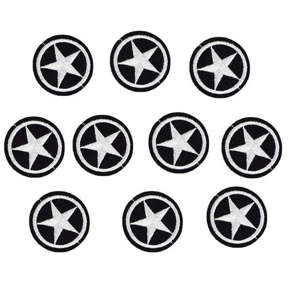 top popular 10 PCS round star badge embroidery patches for clothing applique iron on patches sewing accessories badge stickers on clothes iron-on patch 2021