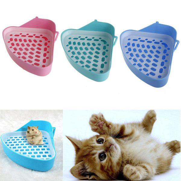 Novo Pequeno Animal Hamster Pet Cat Coelho Bandejas de maca de Higiene Canto Limpo Interior Pet Litter Bandeja de Treinamento