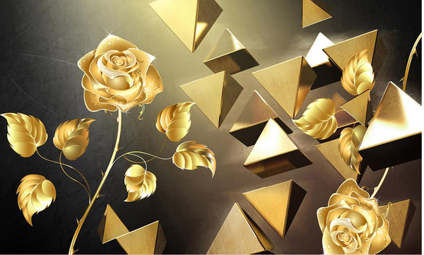 custom wallpaper-3d Pyramid Stereo Gold Rose Background Wall 3d wallpaper living room papel contact