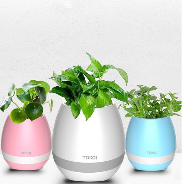 Chegada nova Bluetooth Speaker Inteligente Música Flower-potes Colorido luz baixo Speaker Bonito Rodada Casa Jardim Escritório Decoração Planter Plástico