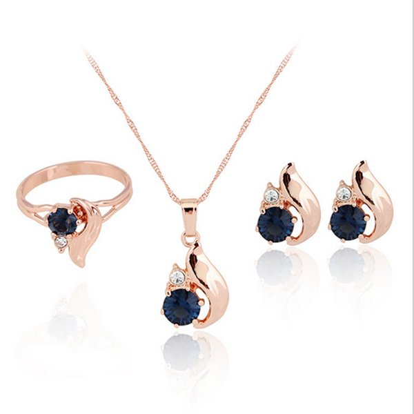 Fashion Wedding Bride 3PCS Jewelry Sets Gold Plated Necklace Earrings Blue Crystal Water Drop Ring Set Women Geometry Jewellery