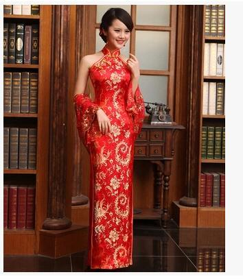 2014 Fashion embroidery side split halter backless red cheongsam floor length party prom evening dress wedding dresses with free Shawl