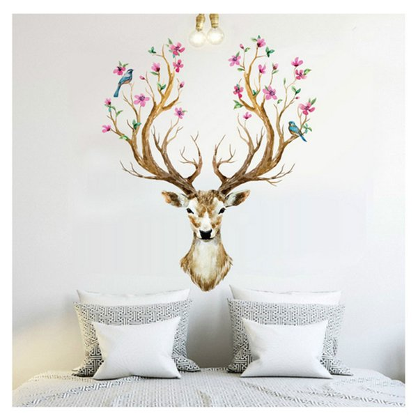 Wholesale- Happy Gifts 3D Plum Flower Deer Wall Stickers For Kids Rooms Living Room Bedroom Home Christmas Decor DIY Decoration Removable