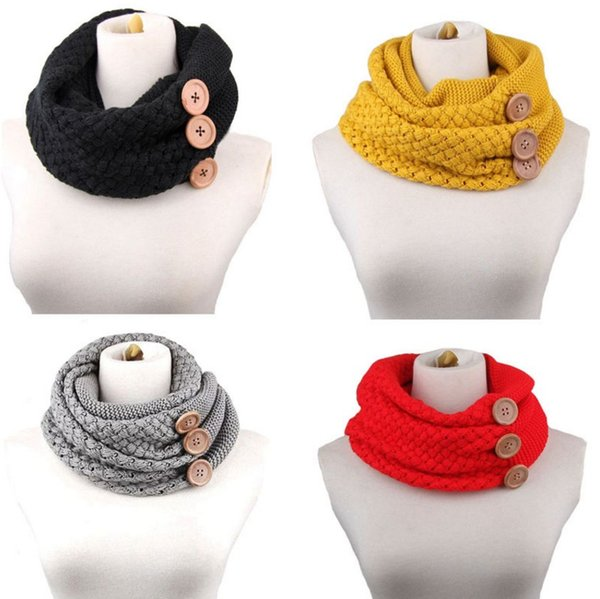 PrettyBaby women neckerchief knitted button scarf winter neck gaiter winter knitting scarf wrap fashion knit warm ring scarf free shipping