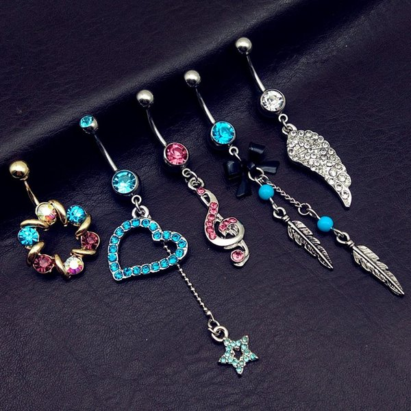 5pcs mix style vintage blue Turquoise wings note star bow long dangle navel belly bar button rings body piercing jewelry