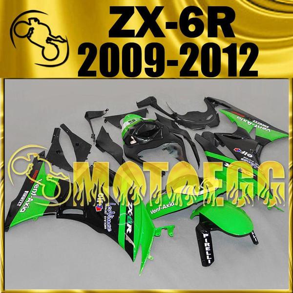 Five Gifts Motoegg Injection Mold Plastic Fairings Complete Set For Kawasaki Ninja 636 ZX-6R 09-12 Racing 2009-2012 ZX 6R Green Black K69M1