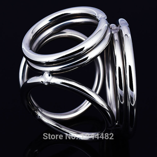 Stainless Steel Male Chastity Device Cock/Penis Ring Cockrings Restraints Four Rings Bondage Gear For Men
