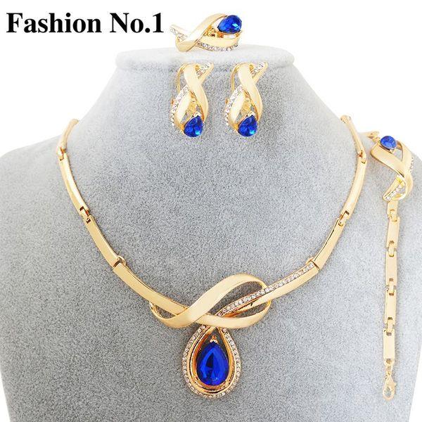 Fashion 4pcs Bridal Choker Accessory Cz Diamond Sapphire WaterDrop Necklace+Ring+Earring+Bracelets&Bangles Femme Jewelry Set