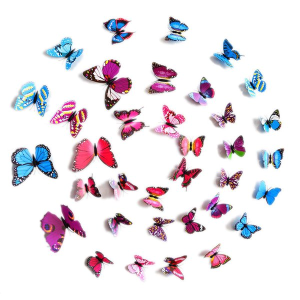 12PCs/lot PVC Wall Decals Butterfly 3D Wall Stickers Home Decor For Kids Room Wall Sticker Flower For Kitchen
