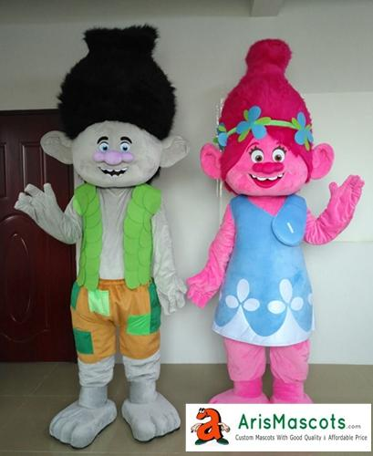 Erwachsene lustige Trolle Charakter Poppy und Branch Maskottchen Kostüm für Geburtstagsfeier Cartoon Maskottchen Outfits für Verkauf benutzerdefinierte Maskottchen Arismascots