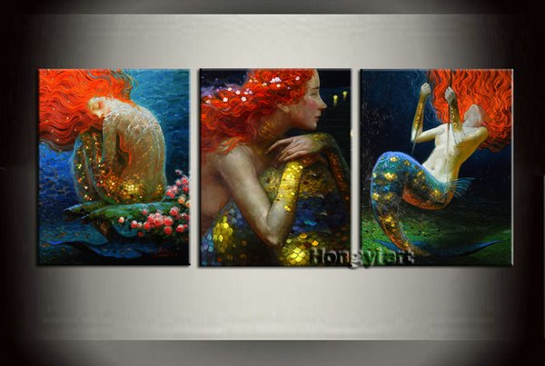 3 Panel Gift Modern Home Decorative Fantasy Mermaid Abstract Oil Painting HD Picture Giclee Print Wall Room Art Printed on Canvas abt02