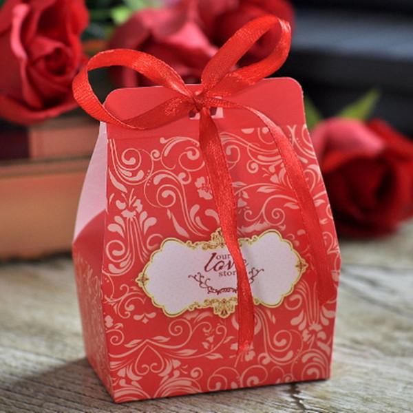 Cajas de dulces Regalos Favores de la boda Portadores del abrigo Recuerdos del partido Caja de papel de chocolate Bolsas del favor Suministros decorativos con decoración de la cinta