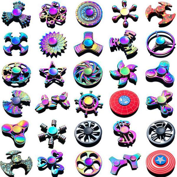 top popular 2017 Fidget Spinner Rainbow Metal Fidget spinners Finger EDC Toys Spins Spiral Gyro EDC Fidget spinner ship by DHL 2019