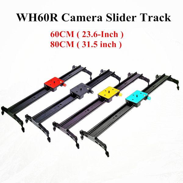 Çift parça Tasarım WH60R 60 CM (23.6-Inç) Taşınabilir DSLR DV Kamera Sönümleme Parça Dolly Slider Video Sabitleyici Sistemi