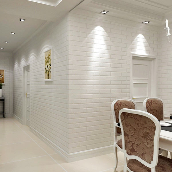 53cmX5m Modern 3D Brick Wallpapers White Thick Embossed PVC Covering Wall Paper Roll Store Living Room TV Backdrop Brick Wallpaper