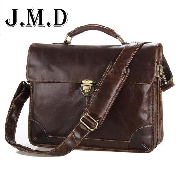Wholesale- Classic Vintage genuine leather Men's Briefcase Laptop Bag High Quality men Messenger Bag handbag business Shoulder Bag