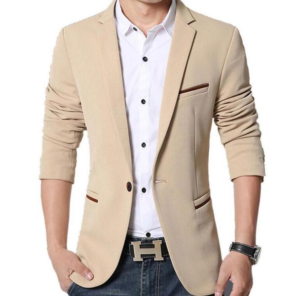Großhandels- Neue Slim Fit Casual Jacke Baumwolle Männer Blazer Jacke Single Button Grau Herren Anzug Jacke 2017 Herbst Patchwork Mantel Male Suite