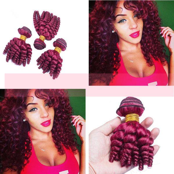 New Arrival Brazilian Virgin Funmi #99j Cheap Human Hair Weaves 8-30 inch Wine Red Romance Curls Hair Weft For Woman