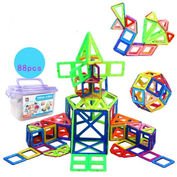 88pcs Magnetic Building Puzzle blocks Rainbow colors Magnet Toys for kids Creater Carnival Set Christmas Gift DHL ship
