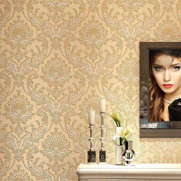 Estilo europeu Damasco 3D Em Relevo Papel De Parede Flor Não-tecido Engrossar Decorações De Parede Sala de estar Sofá Papel De Parede Da Parede Do Damasco