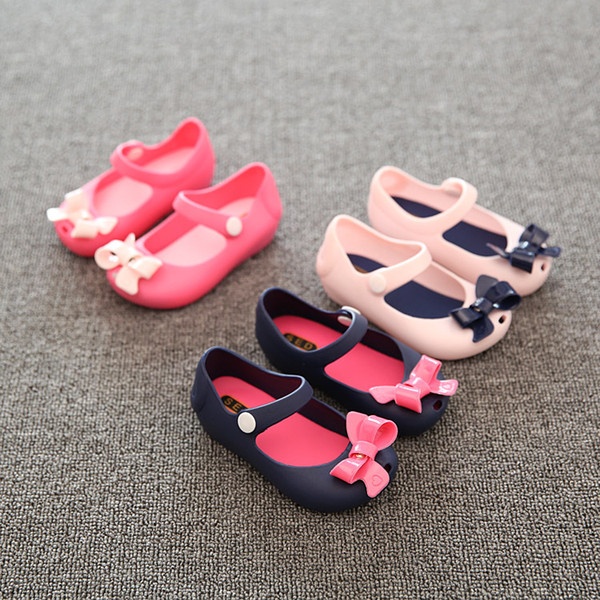 New Mini Melissa Girls Jelly Sandals Princess Summer Shoes baby soft Bottom sandals bowtie Butterfly Children Shoes