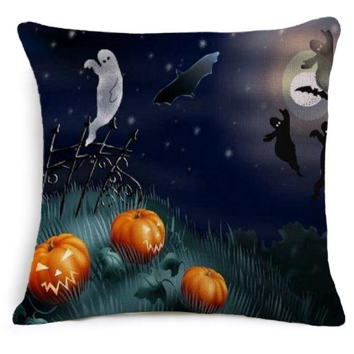 Printed Pillowcase Pillow Case Halloween Gift Square Decorative Decoration Cushion Cover Pumpkin Bat Pattern Home Decor Sofa Bed