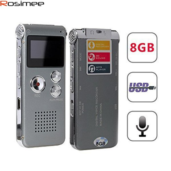 Wholesale- Brand New 8GB Voice Recorder USB Rechargeable Dictaphone LCD Recorder Digital Audio Recording MP3 Music Player Espia Gravador