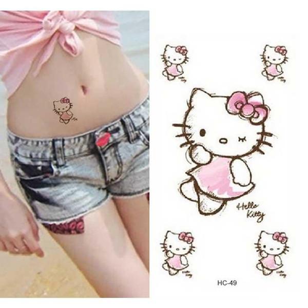 Frauen Sexy Wasserdichte Fake Tattoo Bauch Taille Cartoon Hallo Kitty Aufkleber Für Kinder Flash Temporäre Tattoo Decals