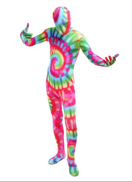 DHL Unisexe Mix Couleur Full Body Spandex Zentai Art Costumes Pour Femmes hommes