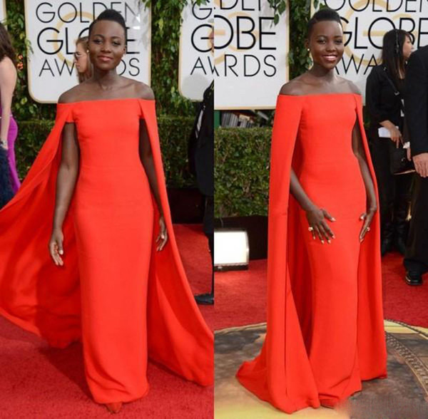 Red Capet Celebrity Prom Dress Golden Globe Award Lupita Prom Dresses Off Shoulder 2014 sexy Fancy Cape Cloak Bateau Sheath Evening Gowns