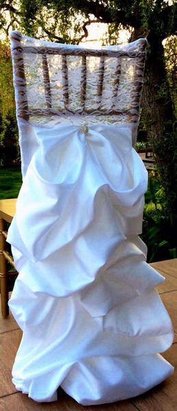 Custom Made 2017 Lace Draped Taffeta Crystal Chair Covers Vintage Romantic Chair Sashes Beautiful Fashion Wedding Decorations 02