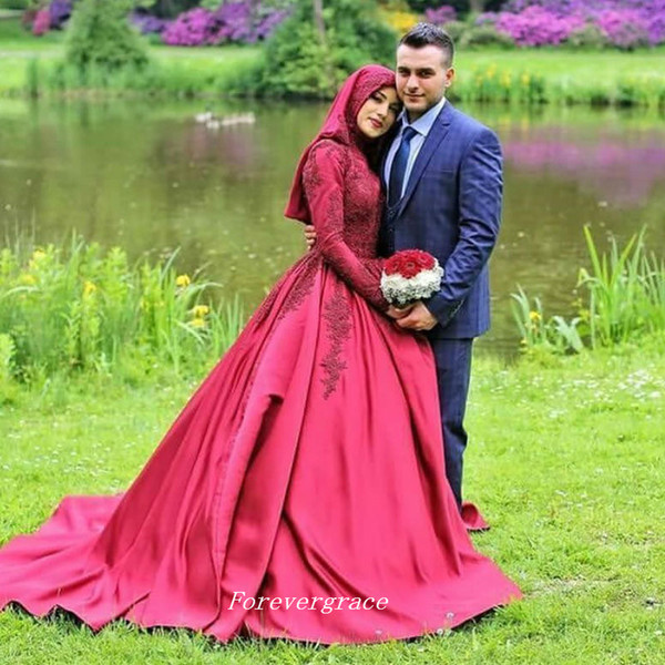 Vintage Long Sleeves Ball Gown Islamic Red Colour Wedding Dress High Neck With Hijab Arab Muslim Women Bridal Gown Plus Size