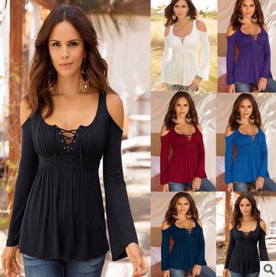 S-5XL Kadınlar Moda Seksi Nakış Tığ Hollow Out Pamuk Casual En Tees T Gömlek Tam Kollu Kapalı Omuz Bluz Blusas Feminina Tops